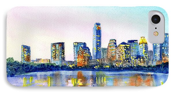 Austin Skyline iPhone 7 Case - Austin Texas Skyline by Carlin Blahnik CarlinArtWatercolor
