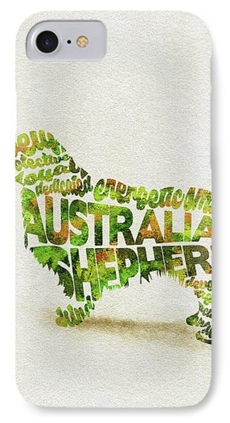 IPhone Case featuring the painting Australian Shepherd Dog Watercolor Painting / Typographic Art by Ayse and Deniz