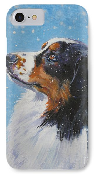 Australian Shepherd In Snow Phone Case by Lee Ann Shepard