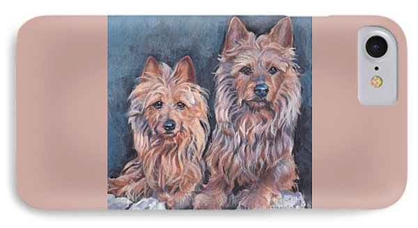 IPhone Case featuring the painting Australian Terriers by Lee Ann Shepard