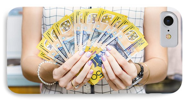 Australian Woman Holding 500 In 50 Dollar Notes IPhone Case by Jorgo Photography - Wall Art Gallery