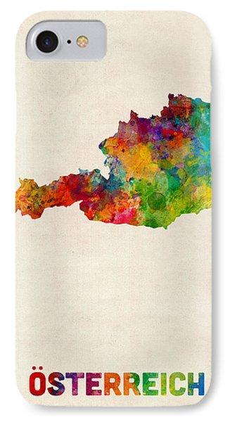 Austria Watercolor Map IPhone Case by Michael Tompsett