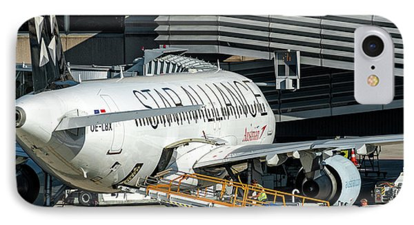 Austrian Star Alliance At Preparation Aircraft Befthe Gate Of Zurich IPhone Case by Roberto Chiartano