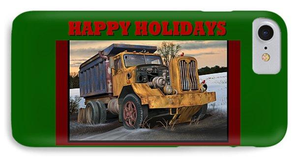IPhone Case featuring the digital art Autocar Happy Holidays by Stuart Swartz