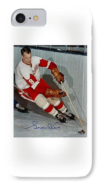 Autographed Photograph Of Gordie Howe IPhone Case by Pd