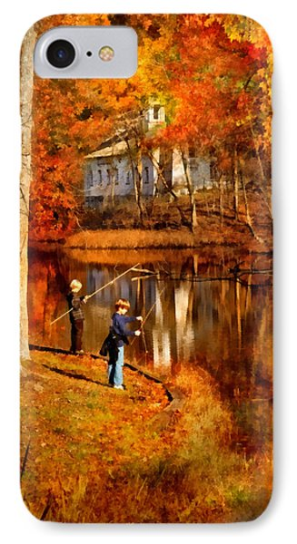 Autumn - People - Gone Fishing Phone Case by Mike Savad