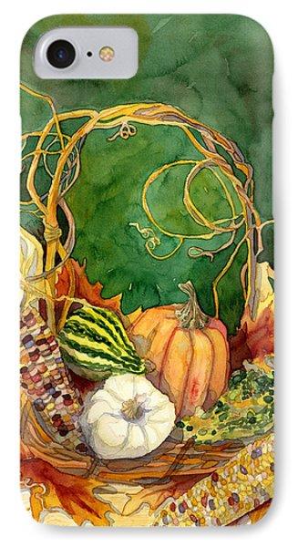 Autumn Abundance - Fall Harvest Basket Indian Corn Pumpkin Gourds IPhone Case by Audrey Jeanne Roberts