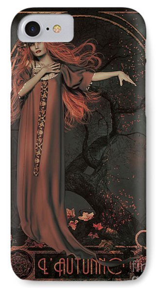 IPhone Case featuring the digital art Autumn Art Nouveau  by Shanina Conway