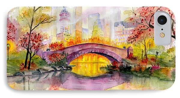 Architecture iPhone 7 Case - Autumn At Gapstow Bridge Central Park by Melly Terpening