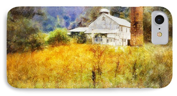 IPhone Case featuring the digital art Autumn Barn In The Morning by Francesa Miller