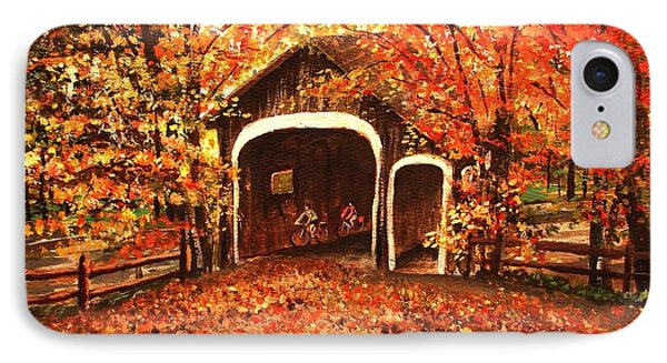 IPhone Case featuring the painting Autumn Bike Ride by Patricia L Davidson