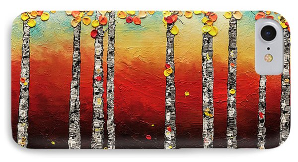 IPhone Case featuring the painting Autumn Birch Trees by Carmen Guedez