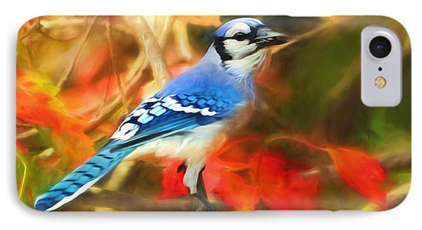 Autumn Blue Jay IPhone Case by Tina LeCour