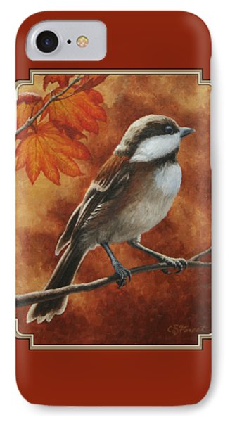 Autumn Chickadee IPhone Case by Crista Forest