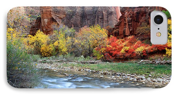 Autumn Colors At Sinawava Temple  IPhone Case by Pierre Leclerc Photography