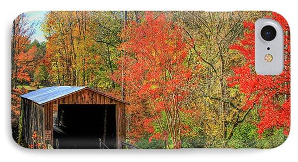 Autumn Elder Mill Covered Bridge IPhone Case by Reid Callaway