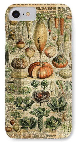 Autumn Fall Vegetables Kiche Harvest Thanksgiving Dictionary Art Vintage Cottage Chic IPhone Case by Jacob Kuch