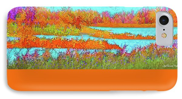IPhone Case featuring the digital art Autumn Grassy Meadow With Floating Lakes by Joel Bruce Wallach