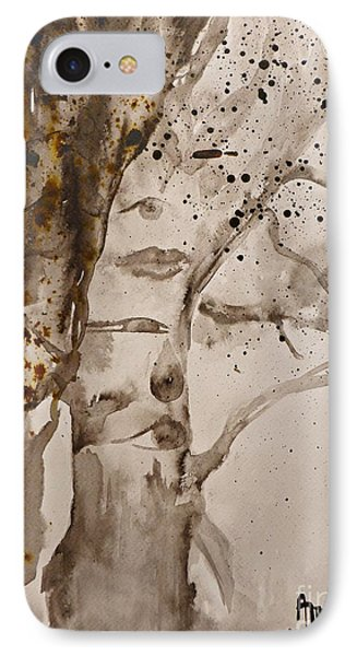 IPhone Case featuring the painting Autumn Human Face Tree by AmaS Art
