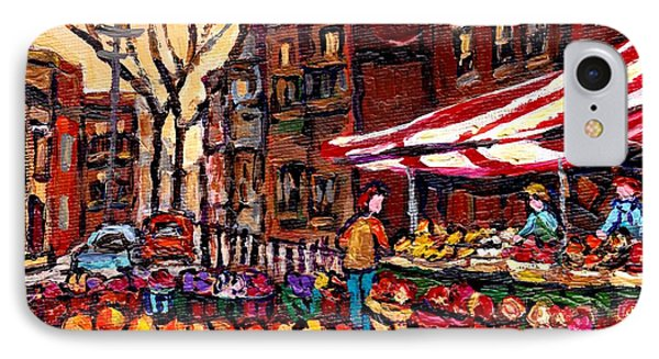 Autumn In The City Outdoor Market Small Format Paintings For Sale Best Montreal Art Carole Spandau IPhone Case by Carole Spandau