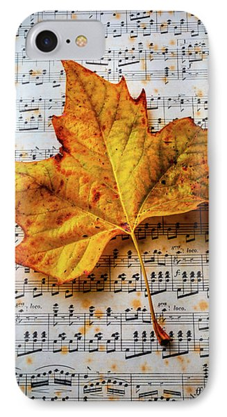 Autumn Leaf On Sheet Music IPhone Case by Garry Gay