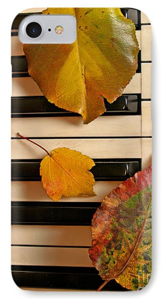 Autumn Leaf Trio On Piano Phone Case by Anna Lisa Yoder