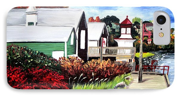 IPhone Case featuring the painting Autumn Lighthouse Miramichi New Brunswick Canada by Patricia L Davidson