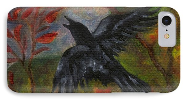 Autumn Moon Raven IPhone Case by FT McKinstry
