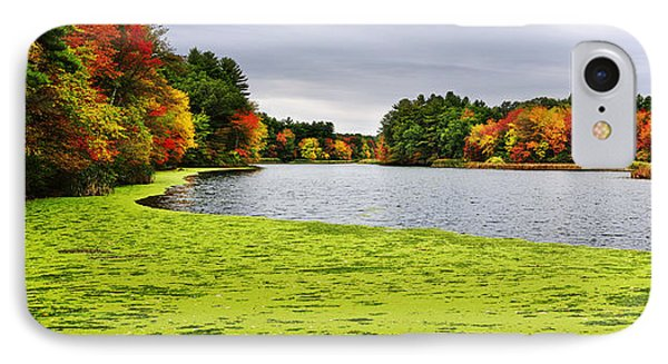Autumn On Grist Mill Pond In Sudbury IPhone Case by Luke Moore