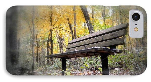 Autumn Park Bench IPhone Case by Bonfire Photography
