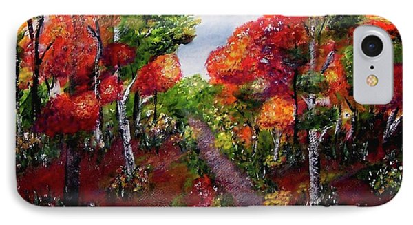 IPhone Case featuring the painting Autumn Path by Sonya Nancy Capling-Bacle