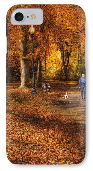 Autumn - People - A Walk In The Park Phone Case by Mike Savad