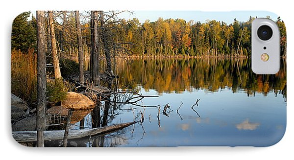 Autumn Reflections On Little Bass Lake IPhone Case by Larry Ricker