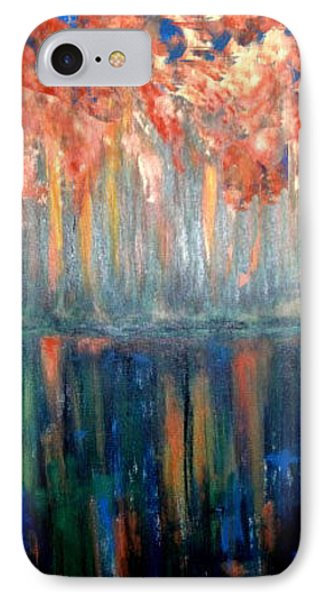 IPhone Case featuring the painting Autumn Reflections by Rae Chichilnitsky