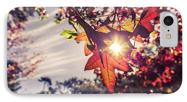IPhone Case featuring the photograph Autumn Sky And Colorful Leaves In Fall Season With Sun Shine On  by Jingjits Photography