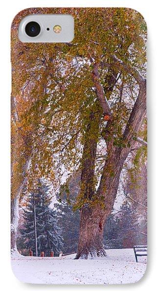 Autumn Snow Park Bench   Phone Case by James BO  Insogna