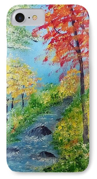 IPhone Case featuring the painting Autumn Stream by Sonya Nancy Capling-Bacle