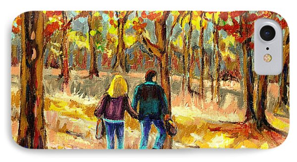 Autumn  Stroll On Mount Royal IPhone Case by Carole Spandau