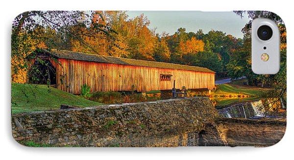 Autumn Sunrise Watson Mill Covered Bridge State Park IPhone Case