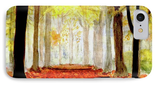 IPhone Case featuring the painting Autumn Trail by Yoshiko Mishina