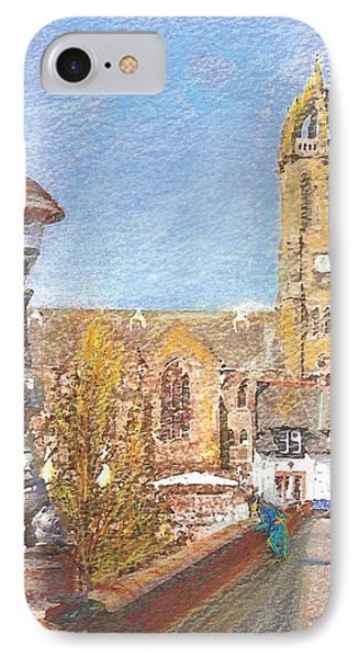 IPhone Case featuring the painting Autumn View Along The Bridge Peebles by Richard James Digance