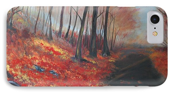IPhone Case featuring the painting Autumns Pathway by Leslie Allen