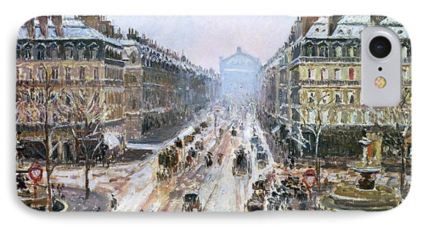 Avenue De L'opera - Effect Of Snow Phone Case by Camille Pissarro