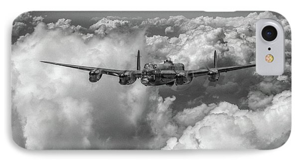 IPhone 7 Case featuring the photograph Avro Lancaster Above Clouds Bw Version by Gary Eason