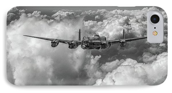 IPhone Case featuring the photograph Avro Lancaster Above Clouds Bw Version by Gary Eason