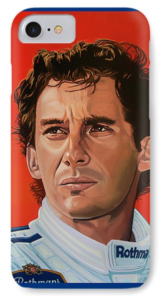 Ayrton Senna Portrait Painting IPhone Case by Paul Meijering