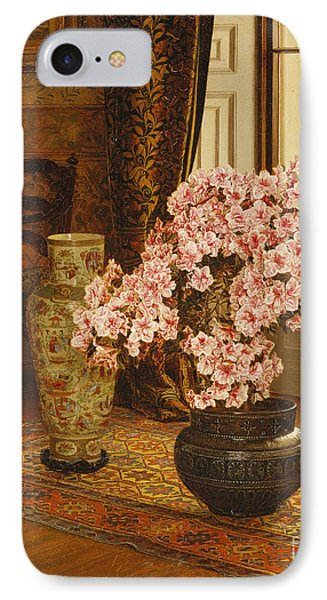 Azalea In A Japanese Bowl, With Chinese Vases On An Oriental Rug IPhone Case by Jessica Hayllar