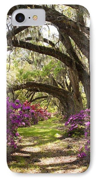 Azaleas And Live Oaks At Magnolia Plantation Gardens IPhone Case by Dustin K Ryan