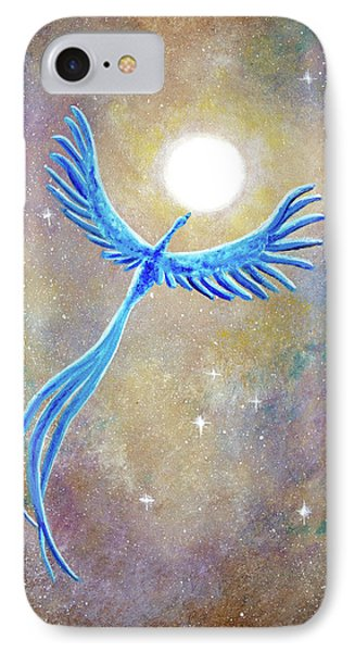 Azure Blue Phoenix Rising IPhone Case by Laura Iverson