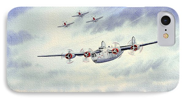 IPhone Case featuring the painting B-24 Liberator Aircraft Painting by Bill Holkham